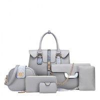 Women Latest Fashion Bags Package 6 Pieces Handbags Grey WB-02