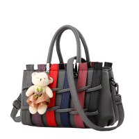 Women Dark Grey Pu Leather Satchel Bag with Little Bear WB-01DG
