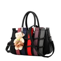 Women Black Pu Leather Satchel Bag with Little Bear WB-01BK