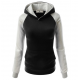 Women Fashion Black with Grey Sleeves Long Hoodie Sweater H-10BG