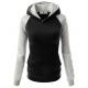 Women Fashion Black with Grey Sleeves Long Hoodie Sweater H-10BG