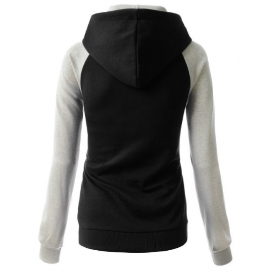 Women Fashion Black with Grey Sleeves Long Hoodie Sweater H-10BG image