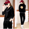 Korean Velvet Women Black Hoodie Leisure Sportswear H-11BK