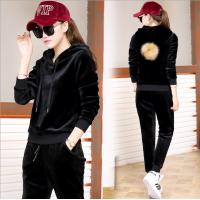 Korean Velvet Women Black Hoodie Leisure Sportswear H-11BK