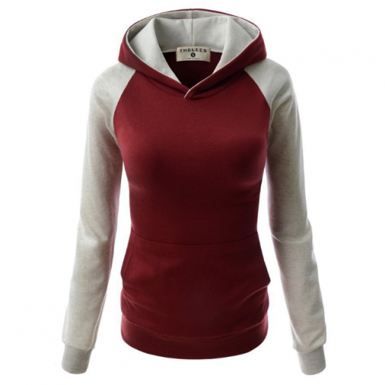 Women Fashion Red With Grey Sleeves Long Hoodie Sweater H-10RG image