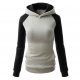Women Fashion Grey with Black Sleeves Long Hoodie Sweater H-10GB