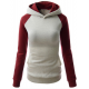 Women Fashion Grey with Red Sleeves Long Hoodie Sweater H-10GR