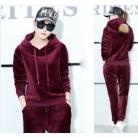 Korean Velvet Women Dark Red Hoodie Leisure Sportswear H-11RD