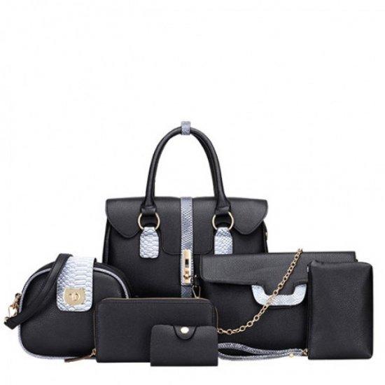 Women Latest Fashion Bags Package 6 Pieces Handbags  WB-02BL