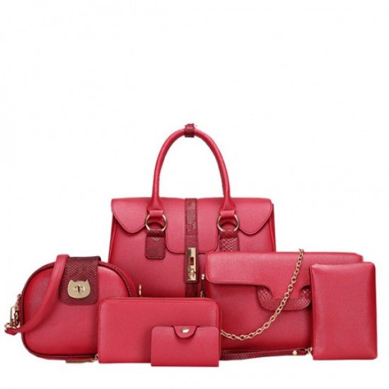 Women Latest Fashion Bags Package 6 Pieces Handbags Pink  WB-02pink