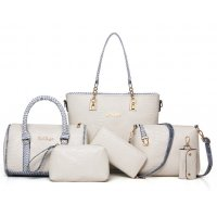 Women Fashion 5 Cream Snake Pattern Handbags Set WB-03CR
