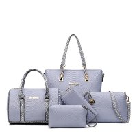 Women Fashion 5 Grey Snake Pattern Handbags Set WB-03GR