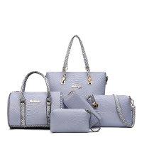 Women Fashion 5 Grey Snake Pattern Handbags Set WB-03GR
