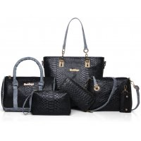 Women Fashion 5 Black Snake Pattern Handbags Set WB-03BK