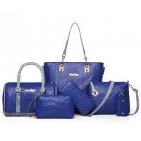 Women Fashion 5 Blue Snake Pattern Handbags Set WB-03BL