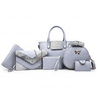 Six Pack Handbag Set Fashionable Ladies American Style Sky Blue WB-05