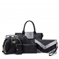 Six Pack Handbag Set Fashionable Ladies American Style BLACK WB-05