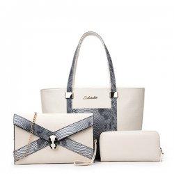 Snake Crocodile Fancy Summer Three Pieces Handbags Set White WB-08w