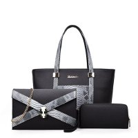 Snake Crocodile Fancy Summer Three Pieces Handbags Set Black WB-08bk