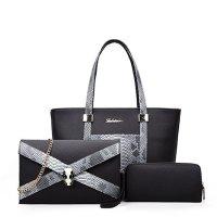 Snake Crocodile Fancy Summer Three Pieces Handbags Set Black WB-08bk