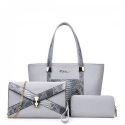 Snake Crocodile Fancy Summer Three Pieces Handbags Set Grey WB-08grey