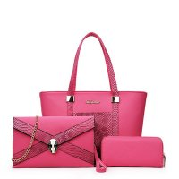 Snake Crocodile Fancy Summer Three Pieces Handbags Set PINK WB-08P