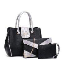 Women Fashion Black Three Piece Crocodile Shoulder Bag WB-09BK