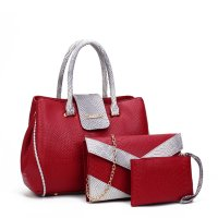 Women Fashion Red Three Piece Crocodile Shoulder Bag WB-09RD