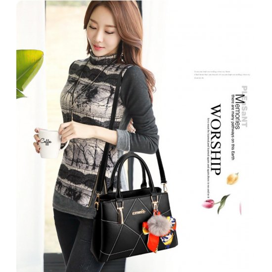Women Fashion Black Large Korean Version Messenger Hand Bag WB-10BK image