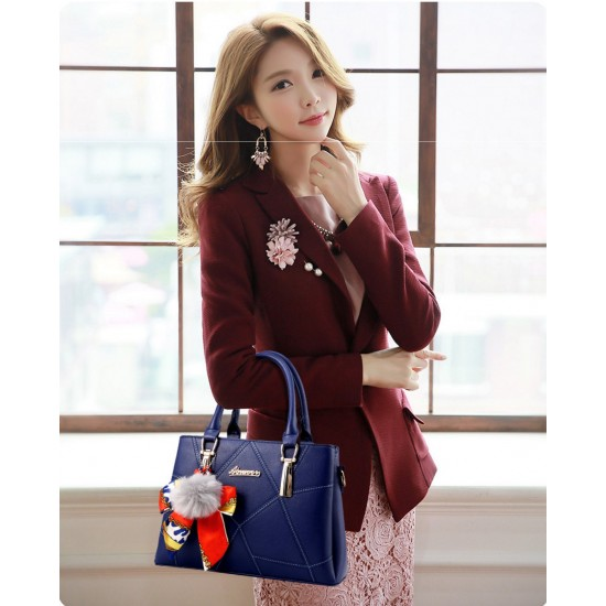 Women Fashion Blue Large Korean Version Messenger Hand Bag WB-10BL image