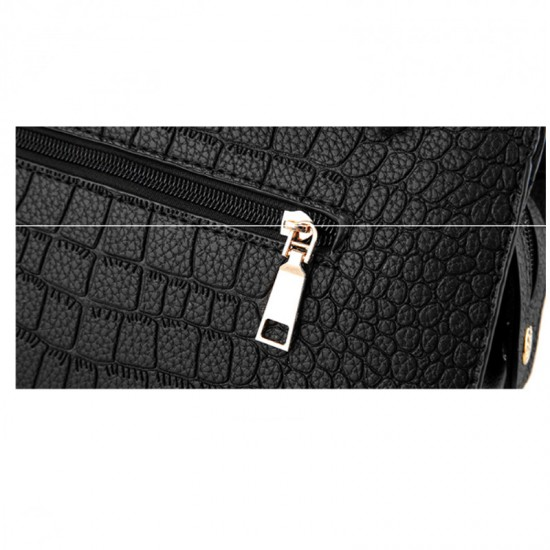Solid Color Crocodile Pattern European Fashion Womens Handbag WB-17BK image