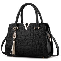 Solid Color Crocodile Pattern European Fashion Womens Handbag WB-17BK