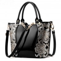 European Fashion Women Black Embroided Shining Leather Hand Bag  WB-11BK