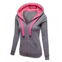 Women Fashion Grey with Pink Shade  Zip Body Fit Hoodie Sweater H-12GP