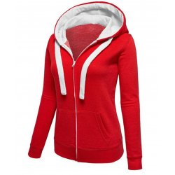 Women Fashion Red with White Shade Zip Body Fit Hoodie Sweater H-12RW