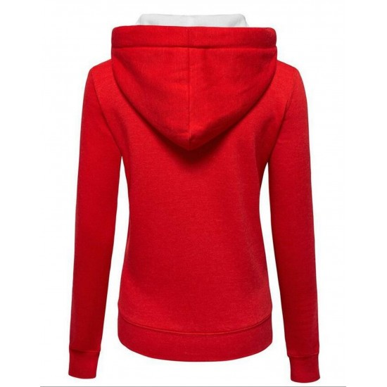 Women Fashion Red with White Shade Zip Body Fit Hoodie Sweater H-12RW image