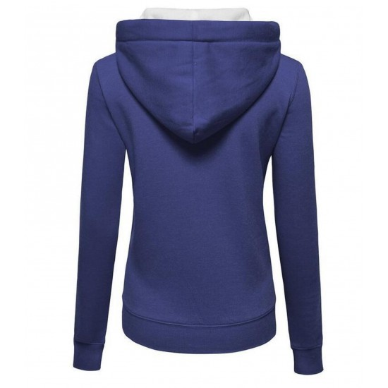 Women Fashion Navy Blue with White Shade Zip Body Fit Hoodie Sweater H-12BL