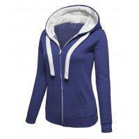 Women Fashion Navy Blue with White Shade Zip Body Fit Hoodie Sweater H12BL
