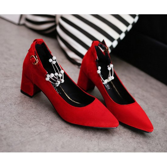 American Women Fashion Diamond Studded Metal Red Pointed Shoes S-14RD image