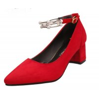 American Women Fashion Diamond Studded Metal Red Pointed Shoes S-14RD
