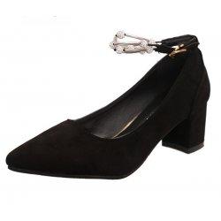 American Women Fashion Diamond Studded Metal Black Pointed Shoes S-14BK