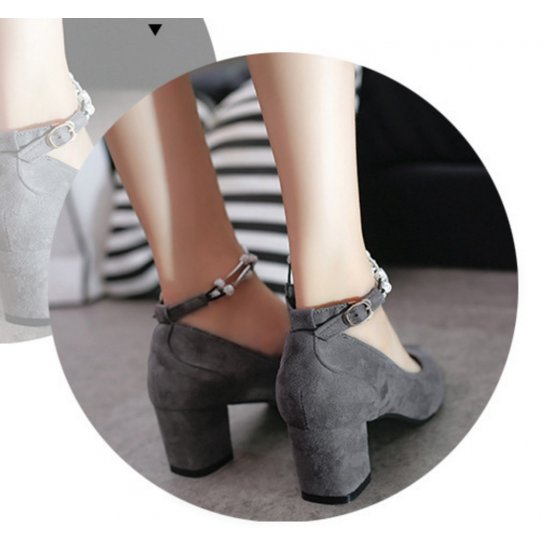 American Women Fashion Diamond Studded Metal Gray Pointed Shoes S-14GR