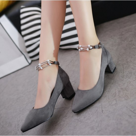 American Women Fashion Diamond Studded Metal Gray Pointed Shoes S-14GR image