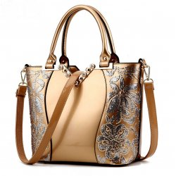 European Fashion Women Gold Embroided Shining Leather Hand Bag  WB-11G