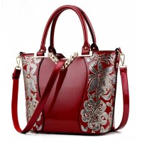 European Fashion Women Red Embroided Shining Leather Hand Bag  WB-11RD
