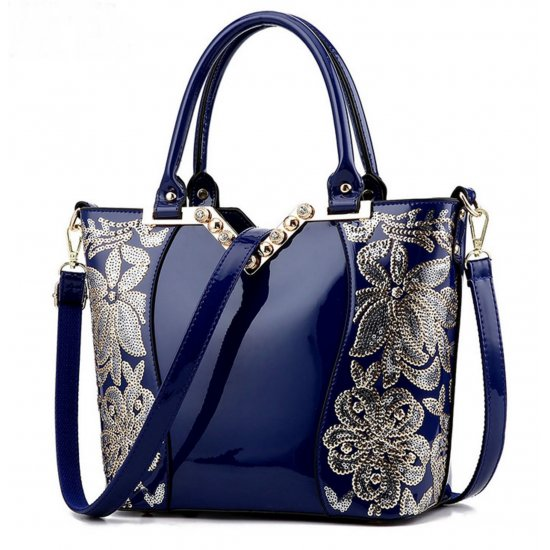 European Fashion Women Blue Embroided Shining Leather Hand Bag  WB-11BL