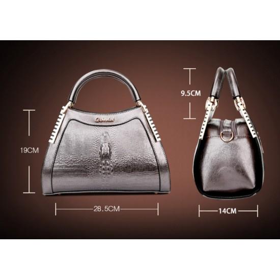 Women Latest Design Black Crocodile Pattern Handbag WB-12BK
