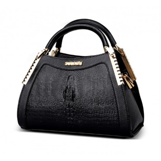 Women Latest Design Black Crocodile Pattern Handbag WB-12BK