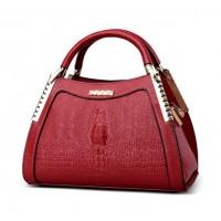 Women Latest Design Red Crocodile Pattern Handbag WB-12RD