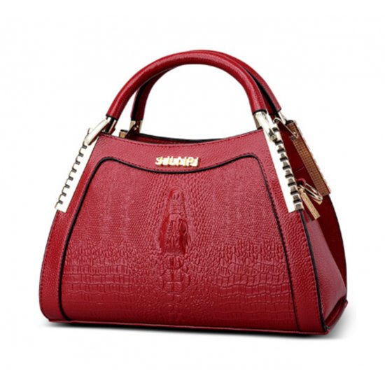 Women Latest Design Red Crocodile Pattern Handbag WB-12RD